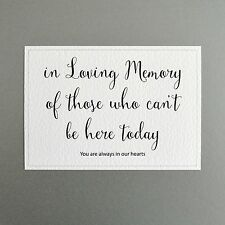 Wedding Memorial Sign - In Loving Memory of those who can't be here today