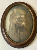 "ANTIQUE TIGER WOOD OVAL CONVEX BUBBLE GLASS PICTURE FRAME OLD PHOTO 17"" X 23"""