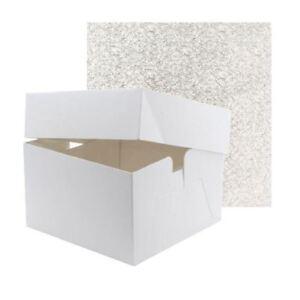 "High Quality White Birthday / Celebration Cake Box & Lid 6"" High + Cake Drum"