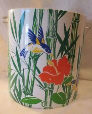 VINTAGE 1970's PLASTIC & LUCITE ICE BUCKET HUMMINGBIRDS, HYACINTH & BAMBOO CLEAN
