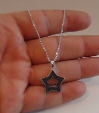 DAVIDS STAR PENDANT NECKLACE W/ 2 CT  BLACK LAB DIAMONDS / 925 STERLING SILVER