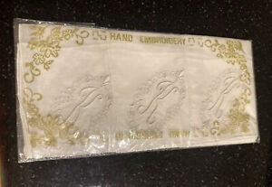 Vintage Handkerchiefs White Packet of 3 Embroidered with Initial K NIP