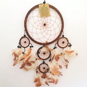 Large Brown Dream Catcher Suede Leather Native American Indian Dreamcatcher