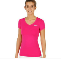 Nike PRO Women's V Neck Athletic Running Tennis Yoga Shirt Size Medium NWT