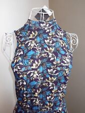 NWT TOPSHOP Blue Tropical Floral Print Turtleneck Sleeveless Stretch Dress UK 8