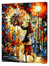 Framed Painting by Number kit Lady With Umbrella Romantic Night Dance DIY JC7388