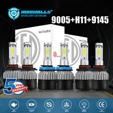 2500W 9005+H11 Combo LED Headlight Bulb Kit AUTO Hi Lo Beam+9145 Fog Light 6000K