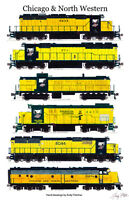 """Chicago & North Western Locomotives 11""""x17"""" Railroad Poster Andy Fletcher signed"""