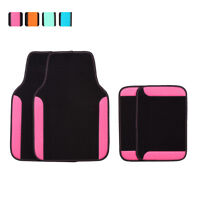 Car Floor Mat Universal Pink Black For Women Girls Honda Hyundai Toyota  4 PCS