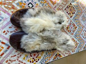 Vtg Repurposed Rabbit Fur Moccasin LEATHER SLIPPERS Size 8