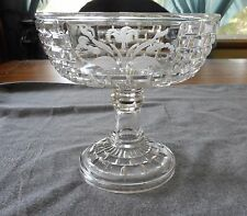 EAPG CENTRAL GLASS #870 BRICK WINDOW FLORAL ETCH OPEN COMPOTE C1887