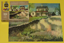"""VINTAGE GUILD JIGSAW PICTURE PUZZLE """"MY NEIGHBOR'S HOUSE"""" NEAT OLD FARM HOME CIB"""