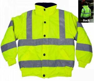 Hi Visibility Kids Child Bomber Jacket Reflective Hi Viz Yellow Hood Coat S M L