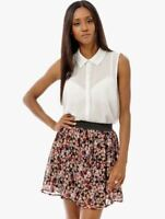 Ladies Floral Skater Skirt, Lined Chiffon Casual Fasten Free Black Blue Skirts