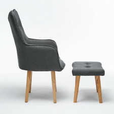 Retro Single Fabric Armchair Sofa Upholstered Foot Stool Foam Oak Chair Grey