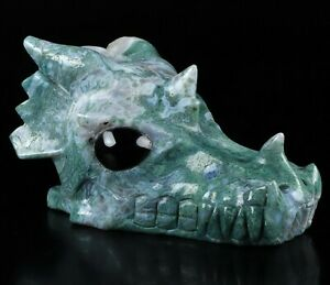 "5.3"" GREEN MOSS AGATE  Carved Crystal Dragon Skull & Black Obsidian Eyes"