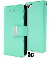 for iPhone 5C - TEAL Leather Case Magnetic Multi Cards Wallet Pouch Folio Cover