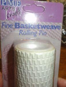 "PME Basketweave fine impression  Cake Icing Fondant 10"" Rolling Pin"