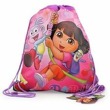 12 Sling Bag Tote Drawstring Non-Woven Dora the Explorer Boots Pink Flower NEW