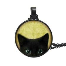 Painting black cat Necklace For pet lovers Cat Pendant ears Favor Jewelry bid