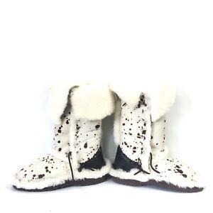 Malibu Cowboy Womens 7 Boots Appaloosa Shearling Hand Stitched Colorado USA $350