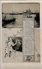 Calendario Mese Febbraio 1904 PC Belle Epoque Fotomontaggio Zodiacali Venezia