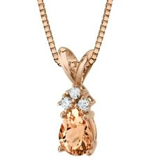 14K Rose Gold Pear Shape 0.75 ct Morganite Diamond Pendant, 18""
