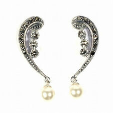 Dangle Pearl Marcasite Earrings Sterling Silver 925 Vintage Jewelry Gift