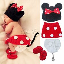 4pcs Newborn Baby Girls Knit Handmade Crochet Minnie Mouse Costume Outfits 0-12M