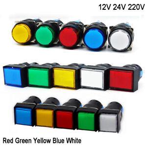16mm LED Powe Indicator Warning Signal Light Bulb DC/AC 12V 24V 220V Panel Mount