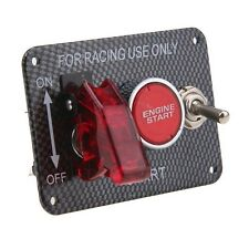Carbon-Look Car Racing Ignition Switch Panel Engine Start LED Push Button Toggle
