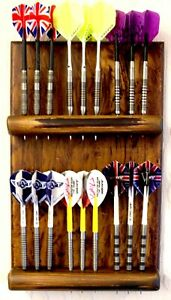 DART CRAFT | HANDCRAFTED DARTS HOLDER | HOLDS 6 SETS | RUSTIC STYLE