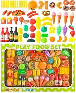Küchenspielzeug- 90-Teile Plastik Essen Obst Gemüse Rollenspiele Küche 8234