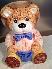 Teddy Bear Wearing Blue Jeans Tie & Hat Cookie Jar