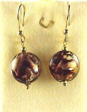 Venetiaurum, Italy 14k/925 Gold Plated Silver, 24k Gold Murano Glass Earrings