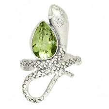 Snake - Green Amethyst 925 Sterling Silver Ring Jewelry s.7.5 AR200350