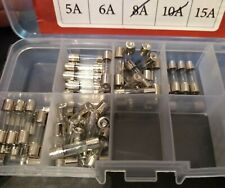 lot of 25 new fuses 5x each of 0.5A 1A 5A 6A 15A AMP fast blow glass electro