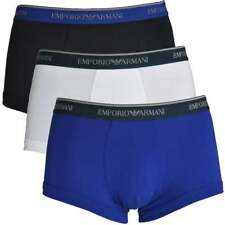 Emporio Armani Men's Fashion Cotton 3-Pack Trunk / Boxer, Marine / Blue / White