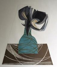 """Rigmor Hansen signed modern abstract limited edition etching """"Flower"""""""