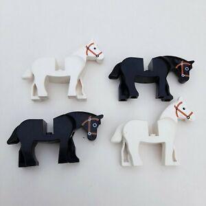 LEGO Vintage/Classic Castle Horses Job Lot x4 White & Black 4493c01pb04