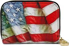 RFID Secure Armored Zipper Wallet - American Flag