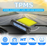 Solar Wireless Car TPMS Black White Screen Tire Pressure Monitor System +4Sensor