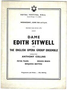 1955 RFH programme Benjamin Britten Dennis Brain Sitwell Peter Pears John Piper