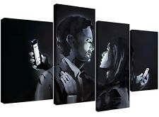Banksy Canvas Prints - Mobile Lovers in Black & White
