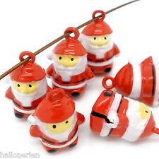 10 PCs Enamel Santa Claus Christmas Bell Charm Pendants