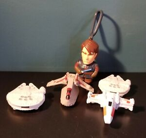 2008 Lot Of 4 McDonald's Star Wars Ships with 1 Zipper Pull