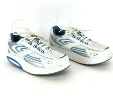 women's Curves white sneaker shoes with silver blue  trim size 9