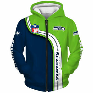 Seattle Seahawks Zip Up Hoodie Men's Sweatshirt Casual Hooded Jacket Sportswear
