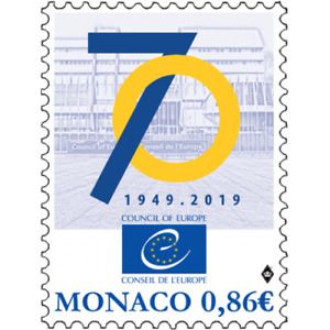 monaco 2019 Council Europe conseil 70 1949 flag star architecture human right 1v