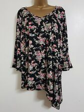 NEW Plus Size 16-28 Roses Floral Print Fluted Sleeve Tunic Top Blouse Black Pink